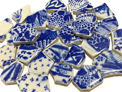 Blue & White Patterned Ceramic Bits - Pattern 2
