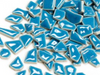 Blue ceramic puzzle pieces irregular