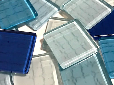 Blue Textured Glass Tiles 2.5cm