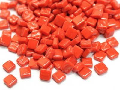 Bright Red 8mm Glass Tiles