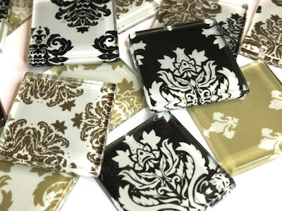 Brown Damask Patterned Glass Tiles 2.5cm