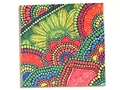 Colourful Mandala 10x10cm Ceramic Tile - Pattern 2 (HM)