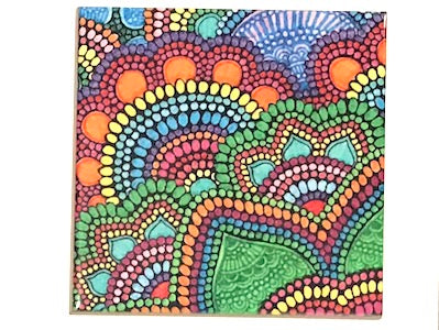 Colourful Mandala 10x10cm Ceramic Tile - Pattern 4 (HM)