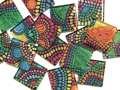 Colourful Mandala 2.5cm Glass Tiles (HM)