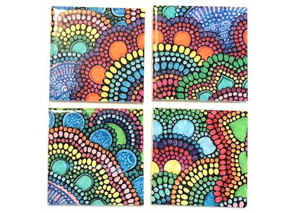 Colourful Mandala Hand Printed Ceramic Tiles 4.8 x 4.8 cm (HM)