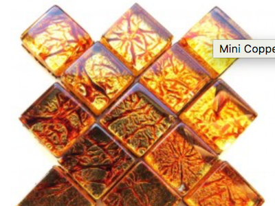 Copper Silverfoil Glass Tiles 1 cm