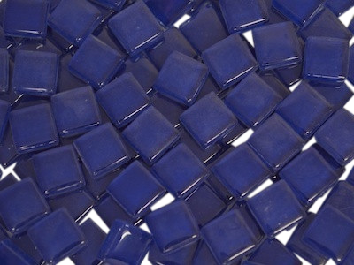 Dark Blue Crystal Glass Mosaic Tiles 1cm
