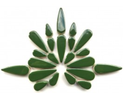 Dark Green Ceramic Teardrops
