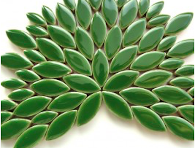 dark green ceramic petals