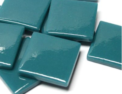 Deep Teal Gloss Glass Tiles 2.5cm