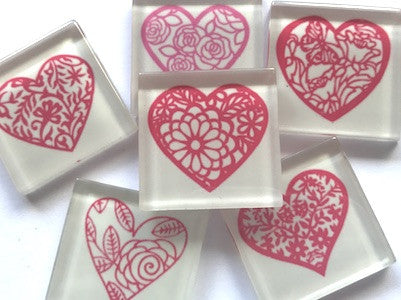 'Filigree Love Hearts' Themed Glass Tiles