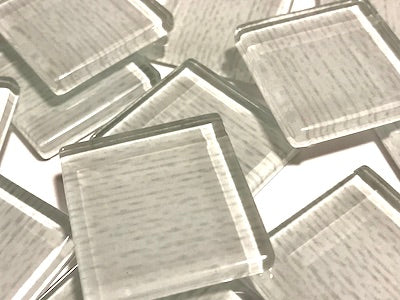 White Fine Textured Glass Tiles 2.5cm