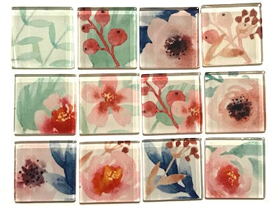 Mixed Flower Series Glass Tiles 2.5cm - Mix 1