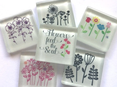 'Flowers' Themed Glass Tiles