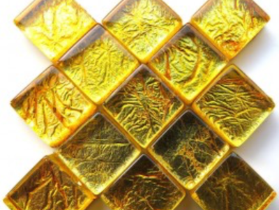 Gold Silverfoil Glass Tiles 1 cm