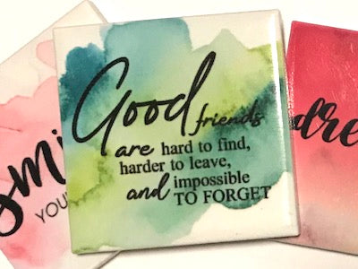 'Good Friends Are Hard To Find' Ceramic Quote Tile (HM)