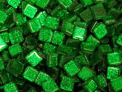 Green Glitter Glass Tiles - 1cm