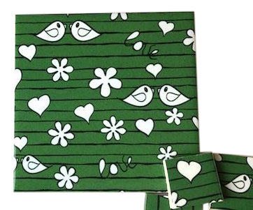 Green Birds Ceramic Tiles 10x10cm