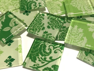 Green Damask Patterned Glass Tiles 2.5cm