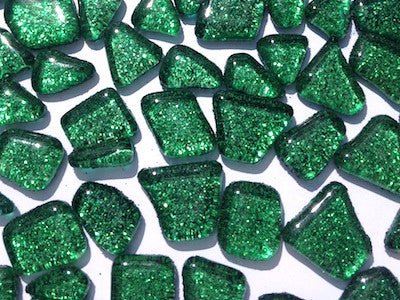 Green Glitter Glass Tiles - Irregular