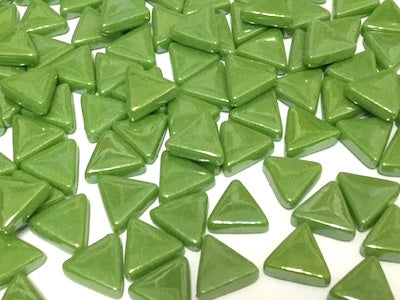 Iridised Green Glass Triangles