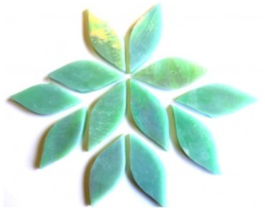 Small Iridised Green Stained Glass Petals