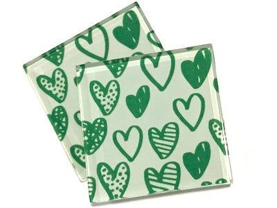 Green Love Hearts 5cm Glass Tiles
