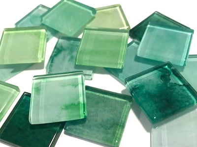 Green Mix - Watercolour Mix & Match 2.5cm Glass Tiles (HM)