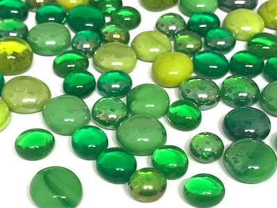 Mini Mixed Green Glass Gems