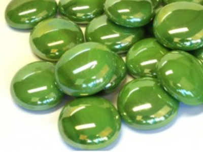 Green Opalescent Glass Gems