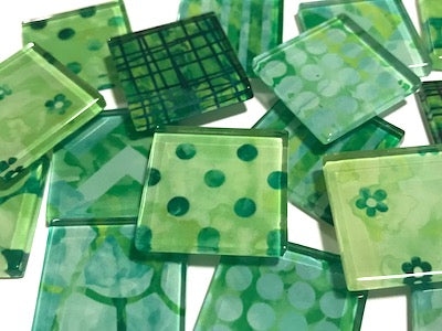Green Patterned Glass Tiles 2.5cm