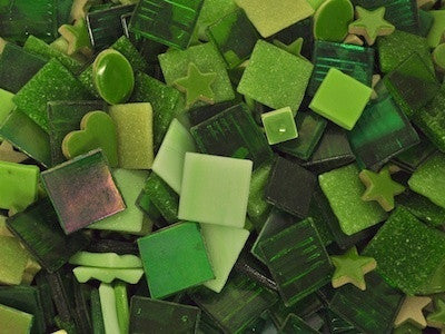 Green tile and tesserae colour packs. A mix of green mosaic materials.