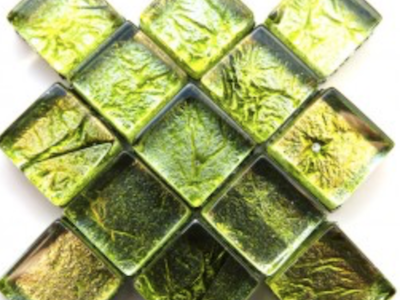 Green Silverfoil Glass Tiles 1 cm