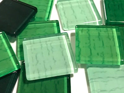 Green Textured Glass Tiles 2.5cm