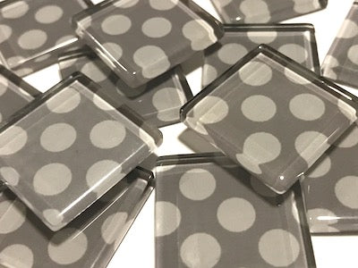 Grey Large Dots Glass Mosaic Tiles 2.5cm
