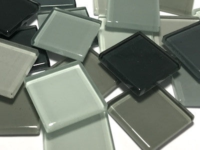 Mixed Grey Glass Mosaic Tiles 2.5cm