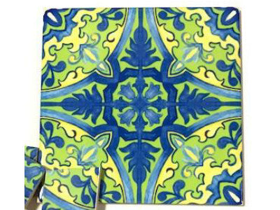 Hand Printed Ceramic Tiles 10x10cm - Pattern 22