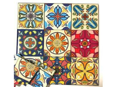 Hand Printed Ceramic Tiles 10x10cm - Pattern 40