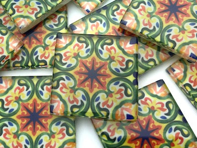Patterned Handmade Glass Tiles 2.5cm - No. 35 (HM)