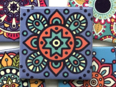 Hand Printed Ceramic Tiles 4.8 x 4.8 cm - Pattern 24