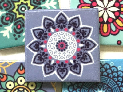 Hand Printed Ceramic Tiles 4.8 x 4.8 cm - Pattern 34