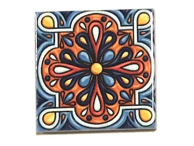 Hand Printed Ceramic Tiles 4.8 x 4.8 cm - Pattern 44 (HM)