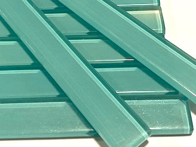 Aqua Green No. 2 Coloured Glass Strips - 10 x 1.5 cm (HM)