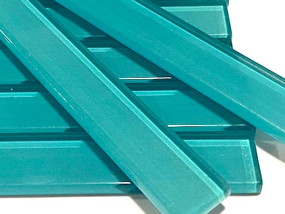 Aqua Green No. 3 Coloured Glass Strips - 10 x 1.5 cm (HM)
