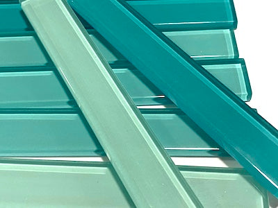 Mixed Aqua Green Coloured Glass Strips - 10 x 1.5 cm (HM)