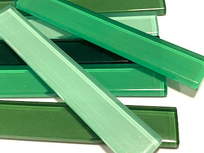 Mixed Green Coloured Glass Strips - 10 x 1.5 cm (HM)