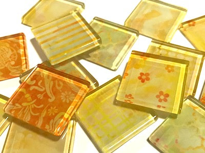 Yellow Patterned Glass Tiles 2.5cm