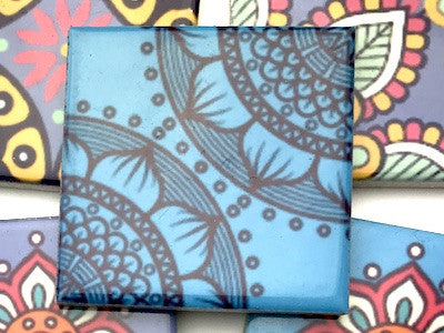 Hand Printed Ceramic Tiles 4.8 x 4.8 cm - Pattern 17