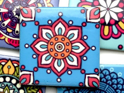 Hand Printed Ceramic Tiles 4.8 x 4.8 cm - Pattern 30