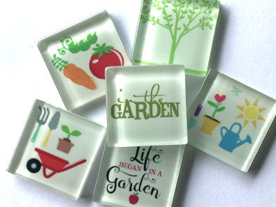 'Gardening' Themed Glass Tiles